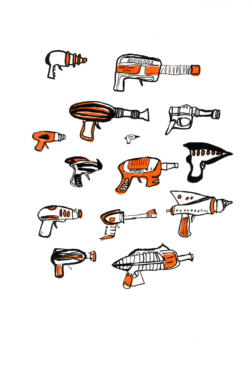 Guns Technical Drawing Ray Guns i Doodles